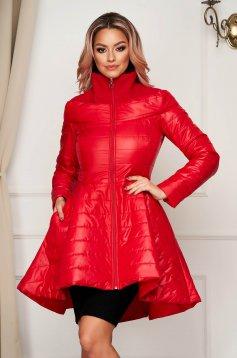 Geaca Artista rosie casual asimetrica din fas captusita pe interior