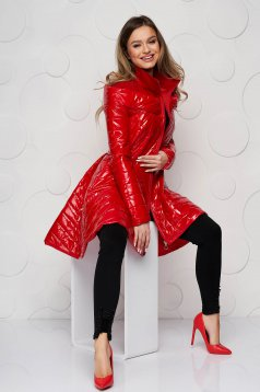 Red from slicker jacket asymmetrical casual with inside lining