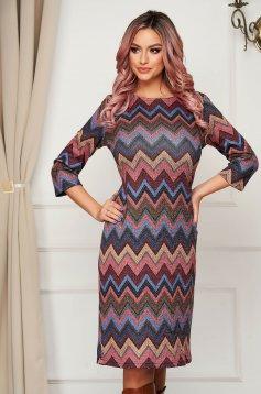 StarShinerS burgundy dress daily midi pencil knitted fabric