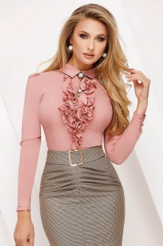 Lightpink women`s blouse office tented cotton with ruffles on the chest accessorized with breastpin