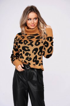 Brown sweater casual short cut flared with turtle neck knitted fabric