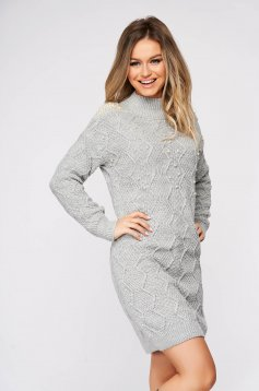 Grey sweater casual knitted fabric with pearls