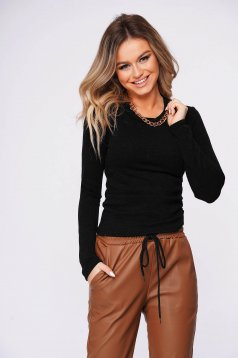 Black sweater casual with tented cut metallic chain accessory knitted fabric