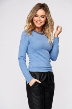 Blue sweater casual with tented cut metallic chain accessory knitted fabric
