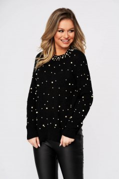 Black sweater casual flared knitted fabric with pearls