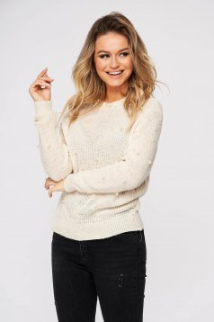Cream sweater casual flared knitted fabric with pearls