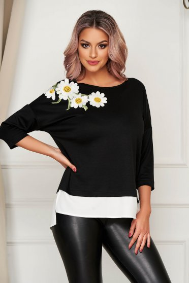 Bluza dama StarShinerS neagra cu croi larg slit lateral si broderie florala