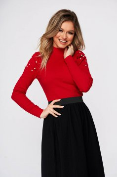 Red elegant short cut cotton women`s blouse with turtle neck high shoulders tented