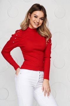 Bluza dama SunShine rosie mulata pe gat din material reiat umeri cu volum