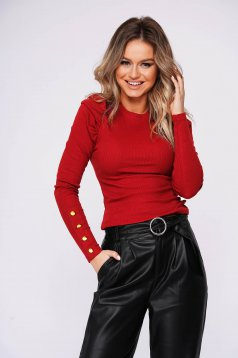 Red short cut tented cotton women`s blouse high shoulders