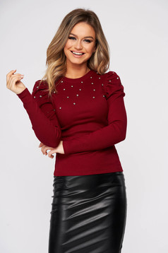 Burgundy women`s blouse tented with crystal embellished details from striped fabric casual high shoulders