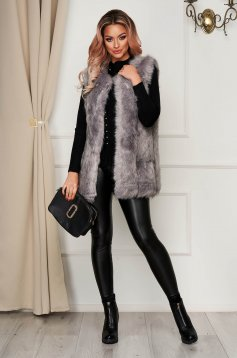 Grey gilet from ecological fur with inside lining with straight cut