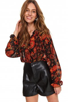 Black women`s shirt flared voile fabric with puffed sleeves