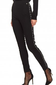 Black tights high waisted with elastic waist with tented cut