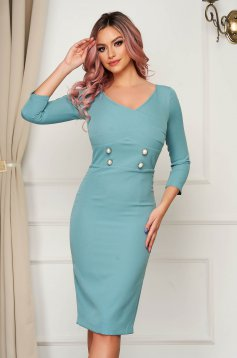 Dress mint office midi pencil slightly elastic fabric with button accessories