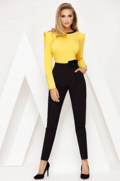 Trousers black office conical high waisted slightly elastic fabric