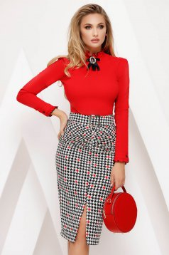 Skirt red office pencil high waisted slightly elastic fabric dogtooth