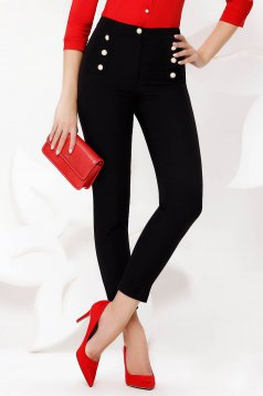 Trousers black office conical high waisted slightly elastic fabric with button accessories