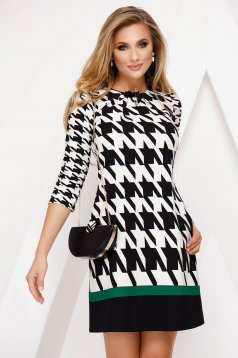 Dress elegant a-line slightly elastic fabric accessorized with breastpin dogtooth