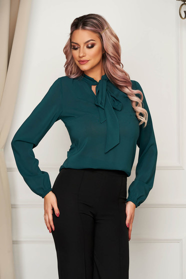 Bluza dama StarShinerS verde eleganta cu croi larg din voal cu maneci lungi cu guler tip esarfa
