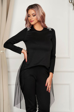Women`s blouse StarShinerS black asymmetrical flared with net accessory with crystal embellished details