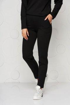 Pantaloni StarShinerS negri casual din jersey cu croi mulat cu elastic in talie si buzunare