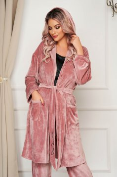 StarShinerS lightpink cardigan velvet with easy cut accessorized with tied waistband with embroidery details