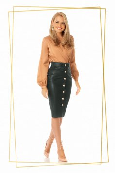 Black midi high waisted pencil skirt faux leather