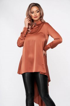 Bricky women`s blouse elegant asymmetrical flared from satin fabric texture