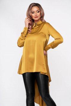 Mustard women`s blouse elegant asymmetrical flared from satin fabric texture