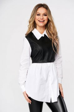 White women`s shirt casual poplin, thin cotton from ecological leather