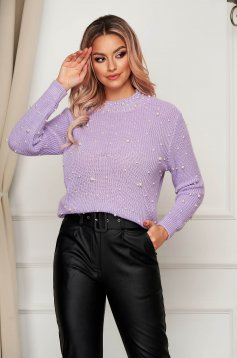 Lila sweater casual flared knitted fabric with pearls