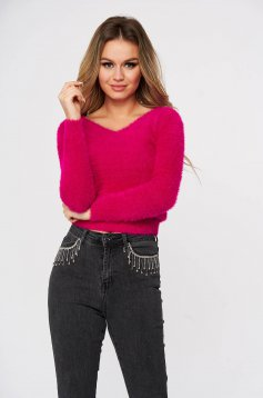 Fuchsia sweater casual short cut flared from fluffy fabric