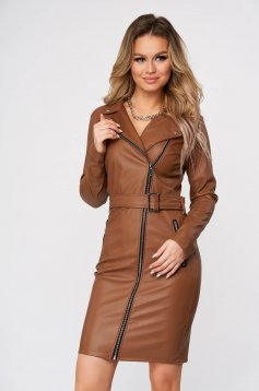 Brown dress casual arched cut faux leather accessorized with tied waistband