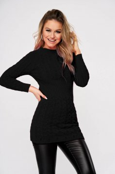 Black sweater casual knitted fabric with tented cut