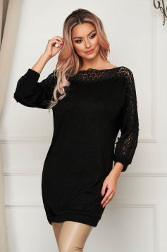 Black sweater casual long flared knitted fabric with embroidery details