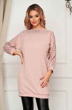 Lightpink sweater casual long flared knitted fabric with embroidery details