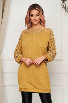 Mustard sweater casual long flared knitted fabric with embroidery details