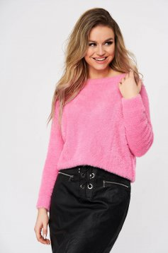Pink sweater from fluffy fabric knitted fabric casual flared