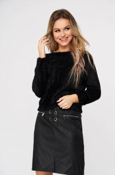 Black sweater from fluffy fabric knitted fabric casual flared