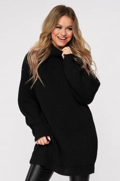Black sweater with turtle neck with easy cut knitted fabric from thick fabric casual