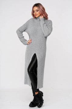 Pulover SunShine gri casual din material tricotat pe gat cu croi larg
