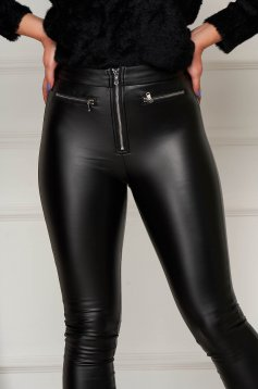 Black trousers faux leather casual with tented cut zipper accessory