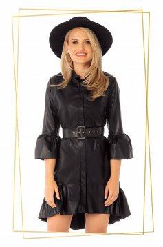 Rochie PrettyGirl din piele ecologica neagra asimetrica croi in clos cu maneci clopot si volanase la baza rochiei