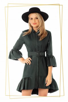 Dress asymmetrical flaring cut dirty green with bell sleeve with ruffles at the buttom of the dress