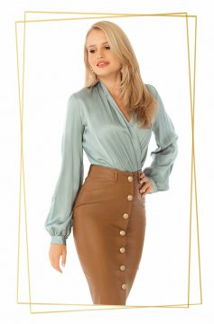 Mint body elegant from satin fabric texture wrap over front airy fabric