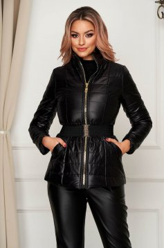 Black jacket casual from slicker with turtle neck with pockets