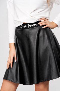 StarShinerS black skirt short cut cloche from ecological leather thick fabric with embroidery details