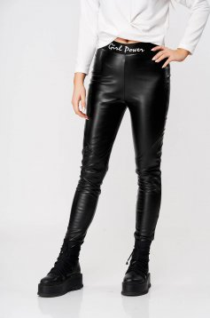 Black tights from ecological leather StarShinerS thick fabric