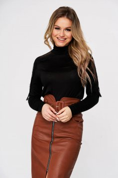 Black sweater casual turtleneck flared with lace details